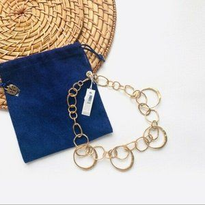 """Tory Burch Hammered Circle Oval Link Necklace 16"""""""